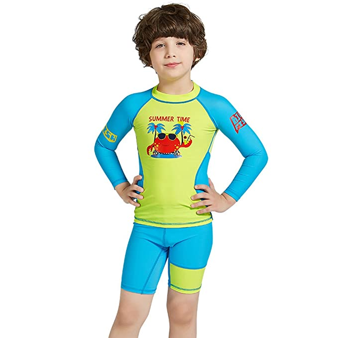 Amazon.com: Kids Swimsuit Wetsuit Boy Girl Swimwear Long ...