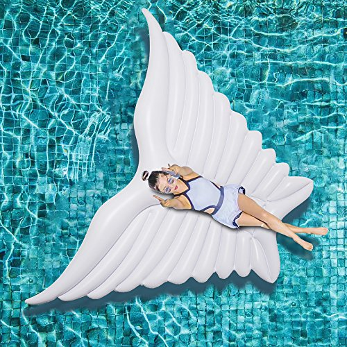 Jasonwell Giant Inflatable Angel's Wing White Pool Float with Rapid Valves Summer Beach Swimming Pool Party Lounge Raft Decorations Toys for (Large White Angel Wings)