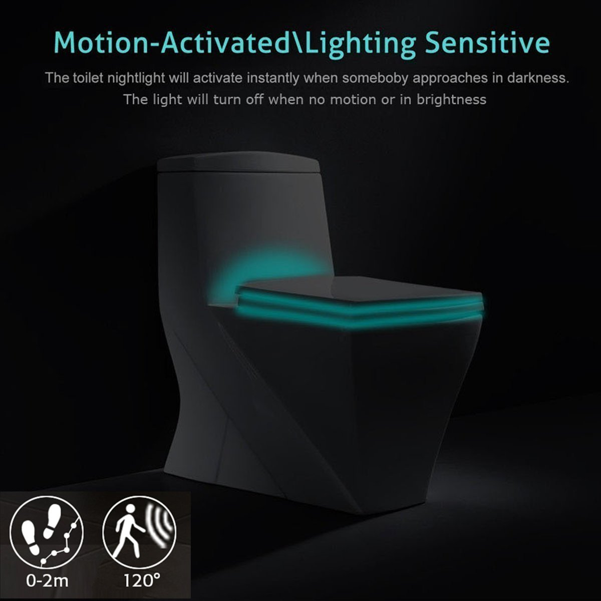 Luz de WC nocturna LED, KINGSO Detección de movimiento del sensor automático WC luz Ideal para cuartos de baño con niños: Amazon.es: Iluminación
