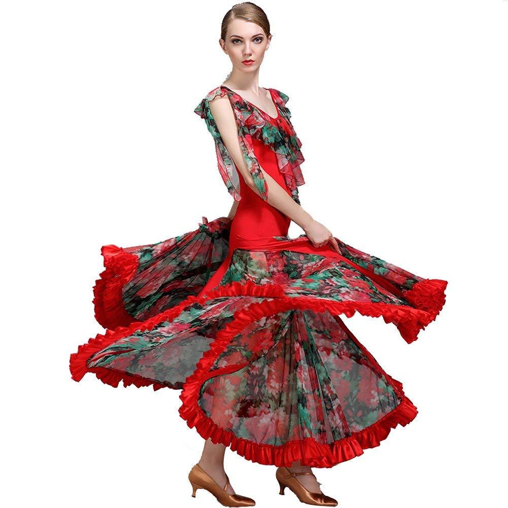 rouge Medium JINPENGRAN pour Les Robes de Bal Les Les dames Perforhommece Robe en Soie imprimée Tulle Ice Robe Normale,bleu,XL