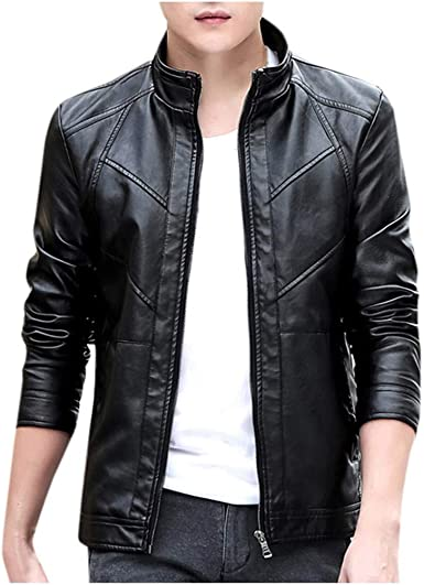 OSTELY Mens Jacket Autumn Winter Print Zipper Stand Collar Long Sleeve Coat Slim Fit Outwear Tops
