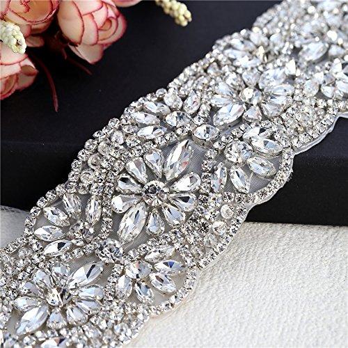 (FANGZHIDI 1Yard Crystal Rhinestone Trim Applique Belt for Bridal Sash and Wedding Dress-Hot Fix or Sew on-1Yard(36