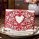 Doris Home 50pcs Laser Cut Invitations Cards Sets Red 50 Pieces for Wedding Birthday Bridal Shower with Envelopes and White Printable Paper Kits,CW5017