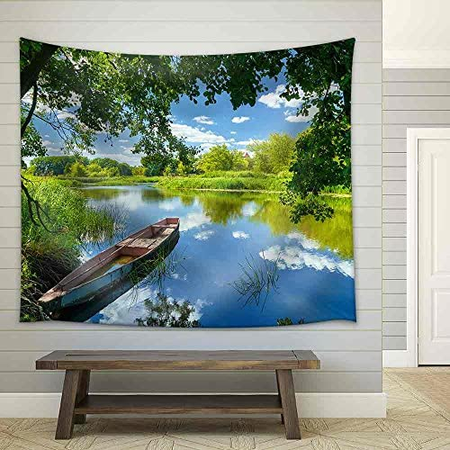 Spring Summer Landscape Blue Sky Clouds Narew River Boat Green Trees Countryside Grass Poland Water Leaves Fabric Wall