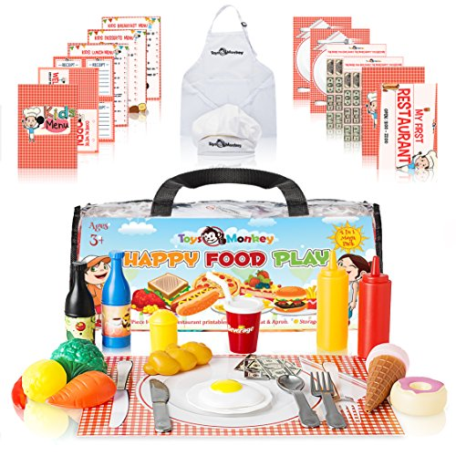 Play Food Set for Kids - Huge Educational 141 Piece Pretend Food Play Kitchen Set - 4 in 1 Pack Includes Plastic Toy Foods, Utensils, Chef Apron & Hat, Printables & Storage Bag. For Age 3-9. (How I Make Cupcakes)