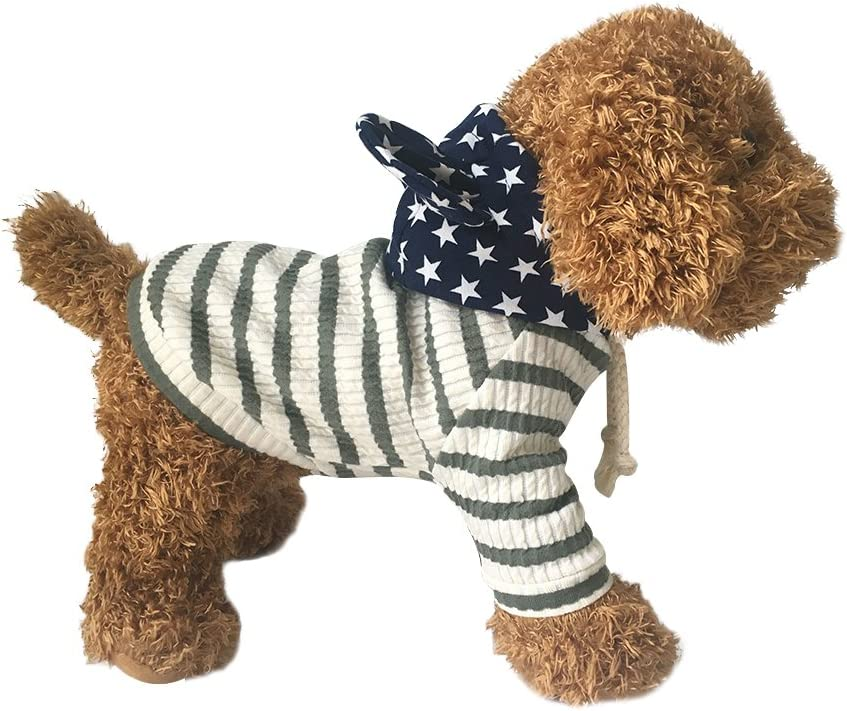 BONDOGLAND Pet Clothes Dog Hoodies for Small Dogs Cat Sweater Onesie Puppy Tracksuit Pajamas 4th of July