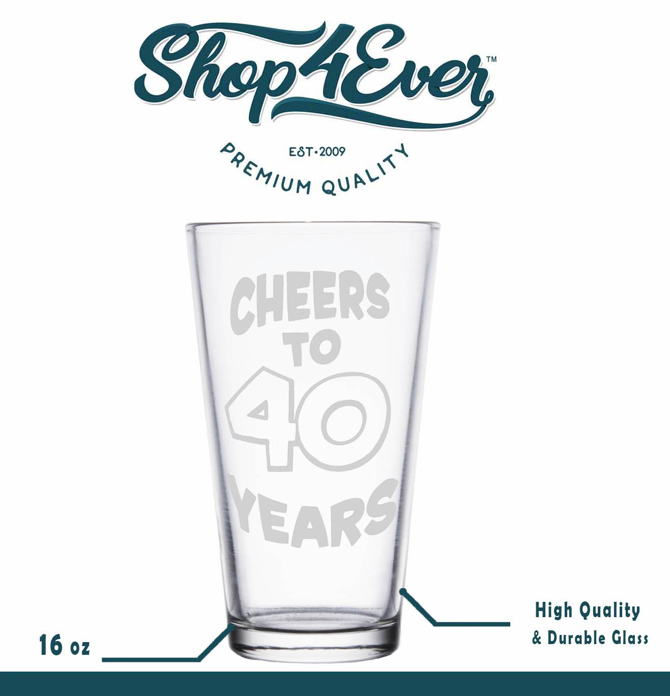 Shop4Ever Cheers To 40 Years Laser Engraved Beer Pint Glass ~ 40th Birthday Gift ~ (Clear, 16 oz.) by Shop4Ever (Image #4)