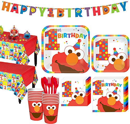 Party City 1st Birthday Elmo Party Kit for 16 Guests, Includes Table Covers, Table Decorating Kit and -