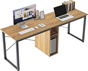 DlandHome Double Computer Storage Desk 78 inches Extra Large Home Office Desk Multifunction Gaming Table Workstation for Home Office, Oak LD-H01OK