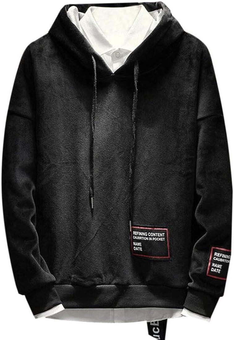 YUNY Men Plus Velvet Hood Basic Oversize Pullover Sweatshirt Top Grey L