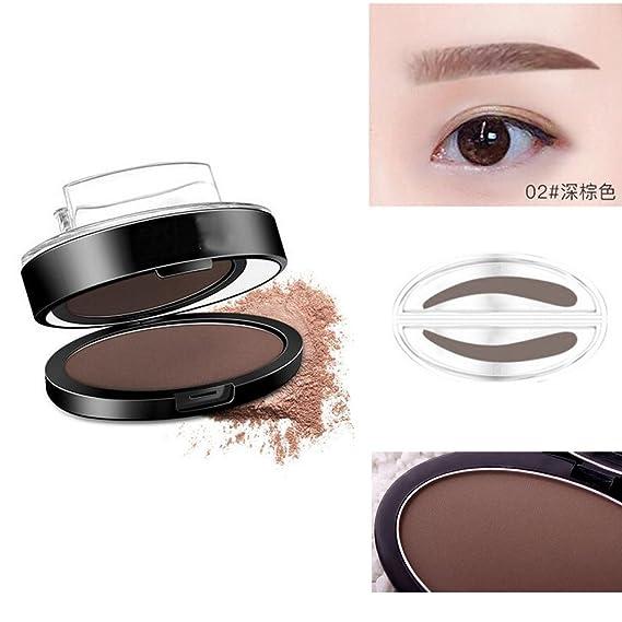 Natural Arco Cejas sello nuevo ceja polvo paleta maquillaje en un segundo (oscuro marrón): Amazon.es: Belleza