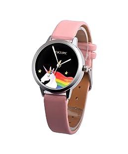 Loweryeah Womens Pink Artificial Leather Star Horse Dial Quartz Analog Wrist Watch 24cm