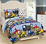 Mk Collection Twin Size Trucks Tractors Cars Kids/boys 5 Pc Comforter and Sheet Set Blue Red Yellow New (Twin, Trucks)