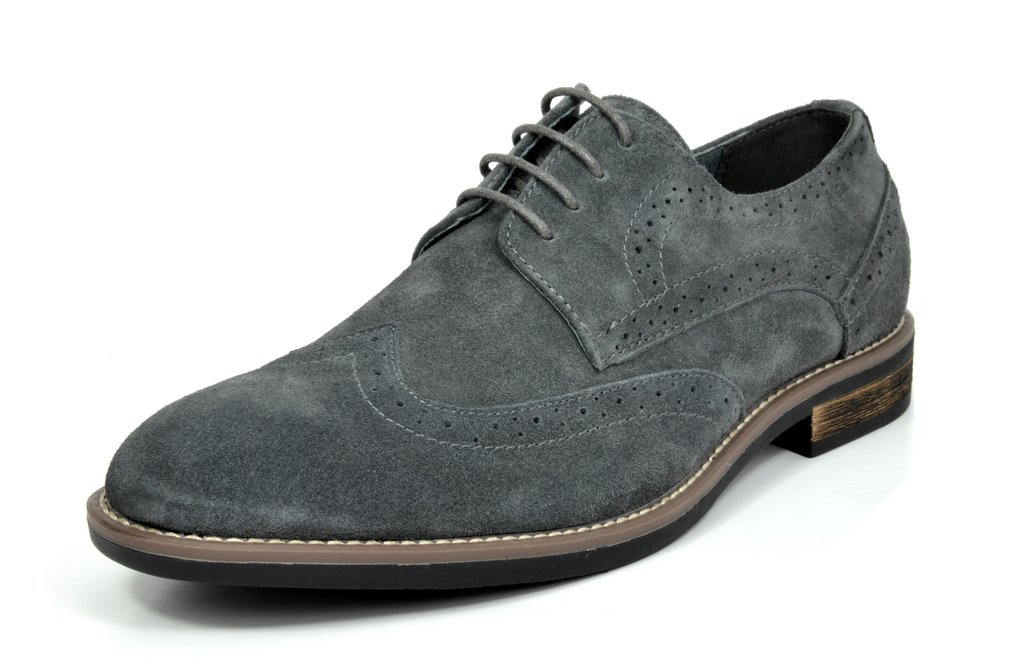 BRUNO MARC NEW YORK Bruno Marc Men's URBAN-03 Grey Suede Leather Lace Up Oxfords Shoes - 7 M US