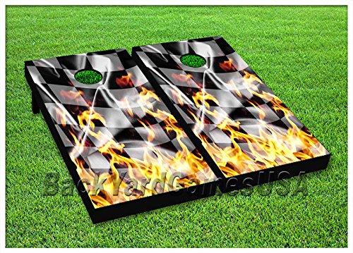 ビニールラップCornholeボードデカールRacing Fire Flag Bag Toss Gameステッカー150 B07616V65X