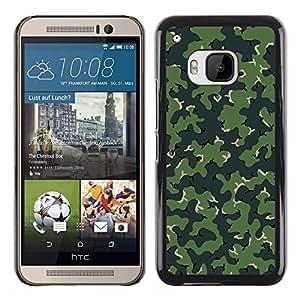 A-type Arte & diseño plástico duro Fundas Cover Cubre Hard Case Cover para HTC One M9 (Modelo de Camo del camuflaje verde)