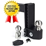 """Weigh Safe SWS8-2.5 6"""" Drop Hitch, 2.5"""" Receiver 18,500 LBS GTW - Adjustable Steel Trailer Hitch Ball Mount w/Built-in Scale 2 Stainless Steel Tow Balls, Keyed Lock, Lifetime Gauge Warranty"""