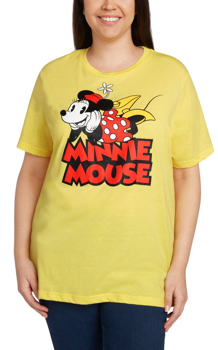 Disney Women's Plus Size T-Shirt Minnie Mouse Print (Heather Yellow, 3X)