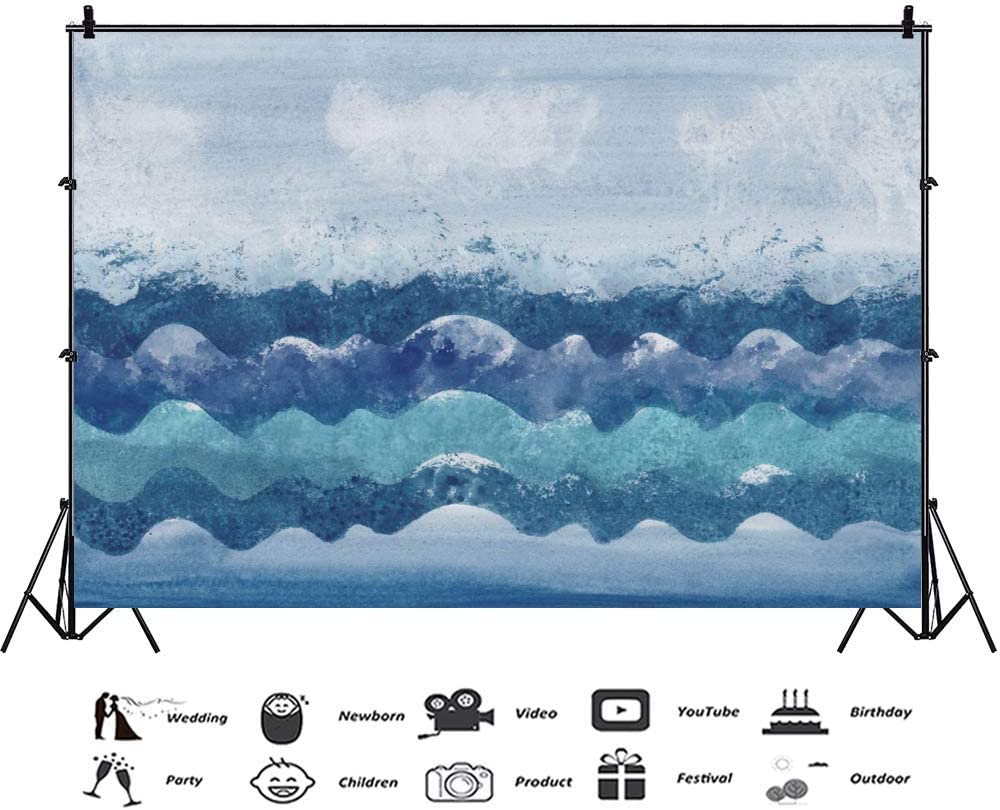 Abstract Sea Waves 10x6.5ft Polyester Photography Background Blue Stripes Summer Studio Photo Prop Outdoor Romantic Wallpaper Vacation Lover Family Cute Children Baby Adult Backdrops