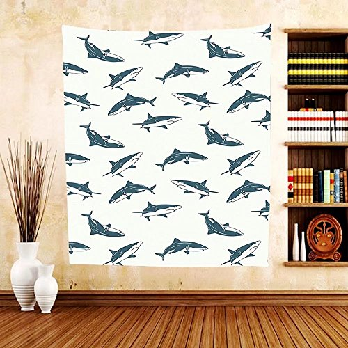 Gzhihine Custom tapestry Sea Animals Decor Tapestry Pattern With Sharks Swimming To Different Directions Monochromic Bedroom Living Room Dorm Decor - Outlets To Beach Directions Palm