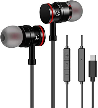 Auriculares USB Tipo C In-Ear con micrófono Control Remoto de Volumen de Auriculares con Cable Compatible con Huawei Samsung Xiaomi Sony y más ...
