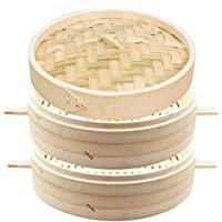 Bamboo Steamer, 2-Layer Handmade Food Steamer with Lid, Kitchen Cookware, Thickened Handle, Rice Dim Sum Vegetables Meat…