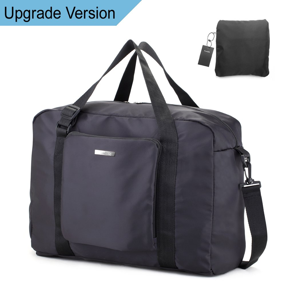 Duffle Bag Travel Bag - Black Lightweight Foldable Large Capacity Canvas Storage Luggage Duffel Tote Bag Sport Gym Portable Duffel bag (New Version)