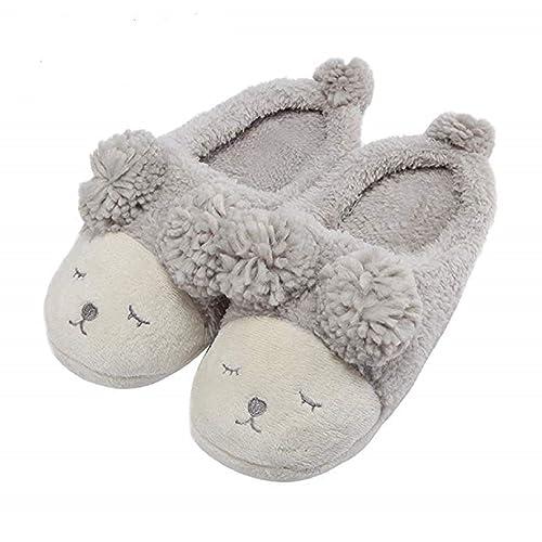 5d7ed225b5746b Womens Winter Warm Fleece Slippers Ladies Girls Cute Cartoon Soft Cozy  Thermal Fuzzy Indoor Slippers Non