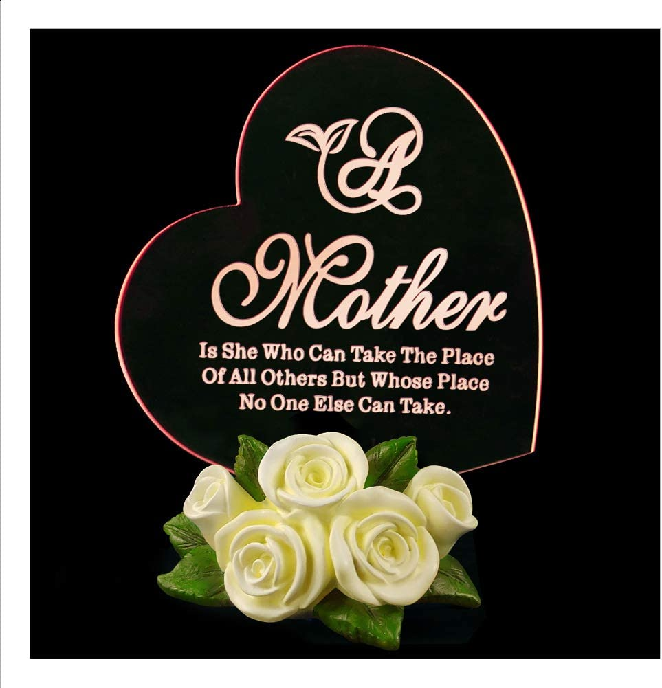 Giftgarden LED Mothers Day Gift Text Illusion Lamp Night Light with 7 Colors Flashing MOM Birthday Cake Topper Anniversary Keepsake