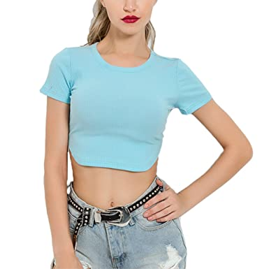a82c0bd34a3 Susupeng Women Round Neck Short Sleeve Casual Ribbed Crop Tops Side Split  Sexy Slim T-Shirt at Amazon Women's Clothing store: