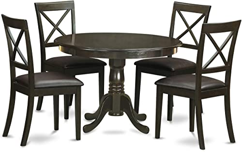 East West Furniture 5-Pc Dining Set Included a Round Modern Dining Table and 4 Dining Chairs