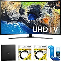 Samsung Curved 65 4K Ultra HD Smart LED TV 2017 Model (UN65MU7500FXZA) with Terk Indoor Flat 4K HDTV Multi-Directional Antenna, 2x 6ft HDMI Cable & Universal Screen Cleaner for LED TVs