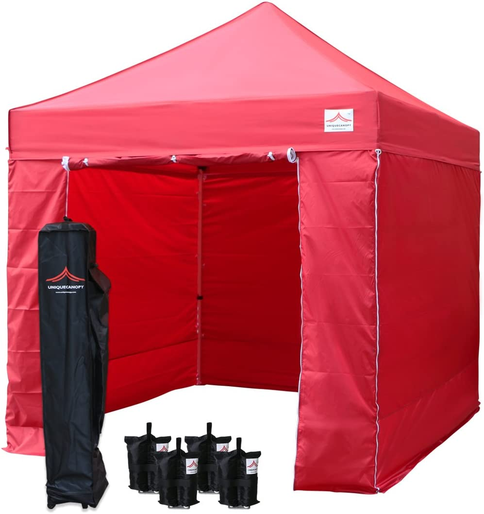 UNIQUECANOPY 8'x8' Ez Pop Up Canopy Tent Commercial Instant Shelter, with 4 Removable Zippered Side Walls and Heavy Duty Roller Bag, 4 Sand Bags Red