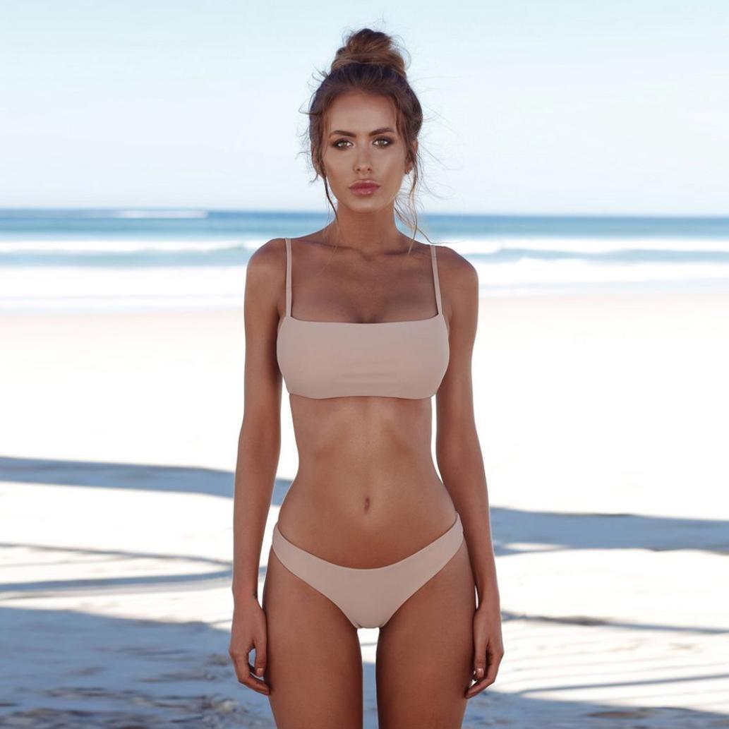 bfc31e7f68 Amazon.com: Sunfei Women Solid Bandeau Bandage Bikini Set Push-Up Brazilian  Swimwear Beachwear Swimsuit: Clothing