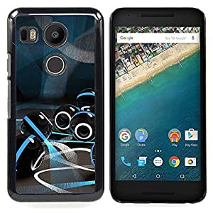 """For LG GOOGLE NEXUS 5X H790 Case , Mármol de cristal futuristas Luces Azul Negro"""" - Diseño Patrón Teléfono Caso Cubierta Case Bumper Duro Protección Case Cover Funda"""