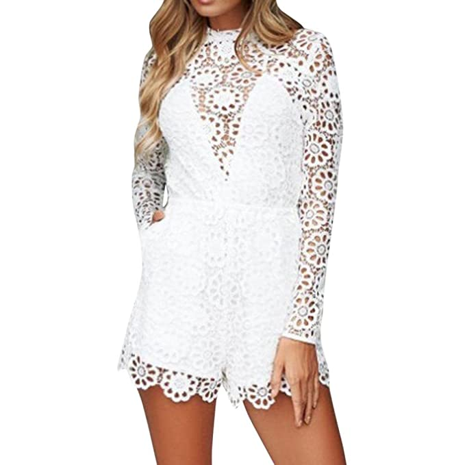 4c94c1b2b28 Amazon.com  iYYVV Women Long Sleeve Lace Sexy Backless Jumpsuit Playsuit   Clothing