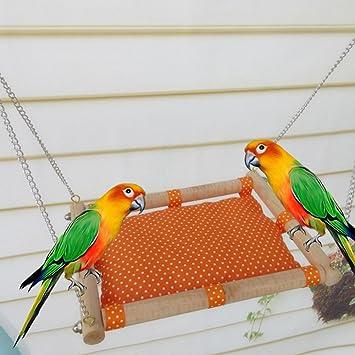 Holz Spielzeug Vogelschaukel mit Glocken für Eichhörnchen Papageien Spielzeug