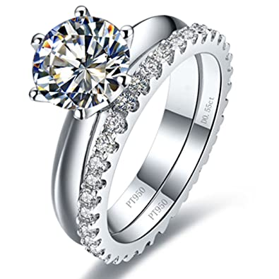 Amazon Com Sterling Silver 3ct Solitaire Engagement Ring 0 55ct