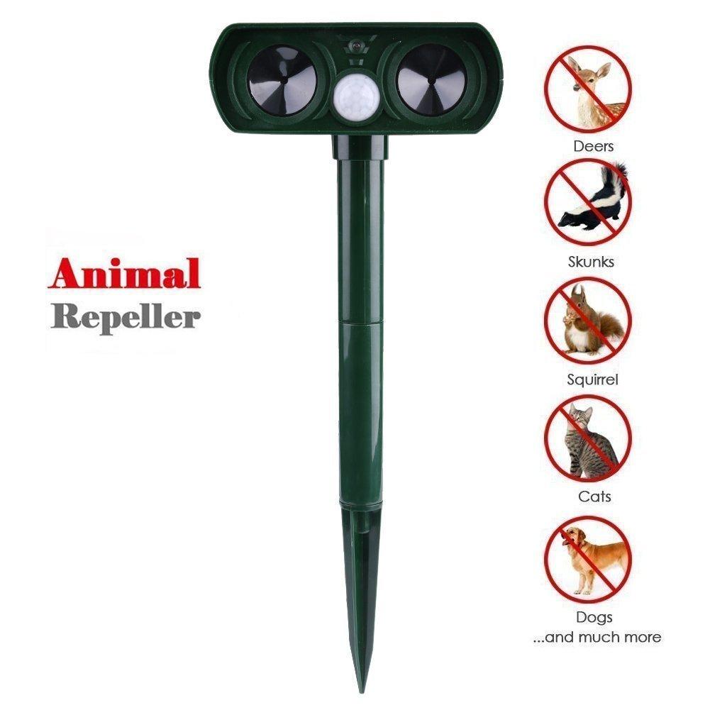 Karl Aiken 1x Répulsif à ultrasons, Pest Repeller solaire/Ultrasonique pour animaux chat,chien,renard,Cerf,Rongeur repeller pour ferme Pest-1BK-FR