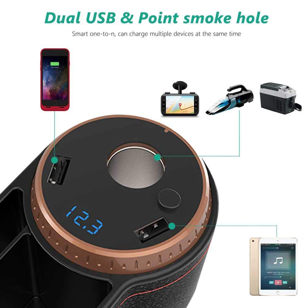 E-CHENG Car Seat Gap Filler Brown Multi-Functional Car Gap Organizer,Car Seat Storage Organize with 2 USB Chargers and for Cellphones,Keys,Cards,Wallets
