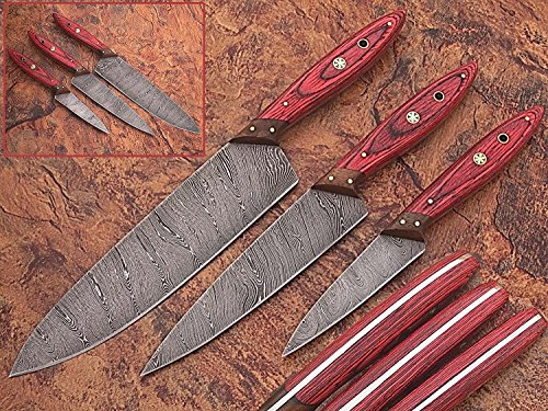 - 1046 Custom Made Damascus Steel Kitchen Chef Knife Set 3 Pcs Wood Handle by GladiatorsGuild (Red Wood)