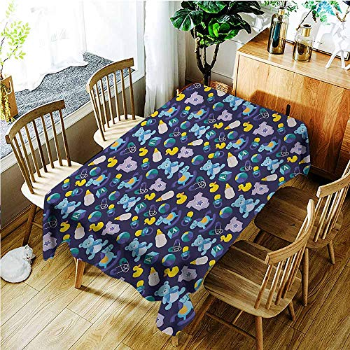 TT.HOME Custom Tablecloth,Nursery Children Toys Pattern with Rubber Duck Teddy Bear Beach Ball and Rocking Horse,Fashions Rectangular,W60X102L,Multicolor ()