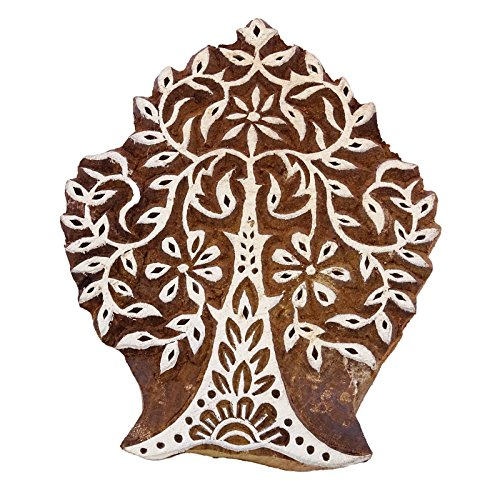(Hand Carved Tree Stamp Brown Wooden Textile Stamp Indian Printing Block Art )