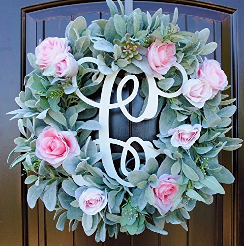 (Rustic Round Front Door Wreath made of Green Lambs Ear, Succulents, and Pink Roses on Grapevine Base with Monogram Letter Option)