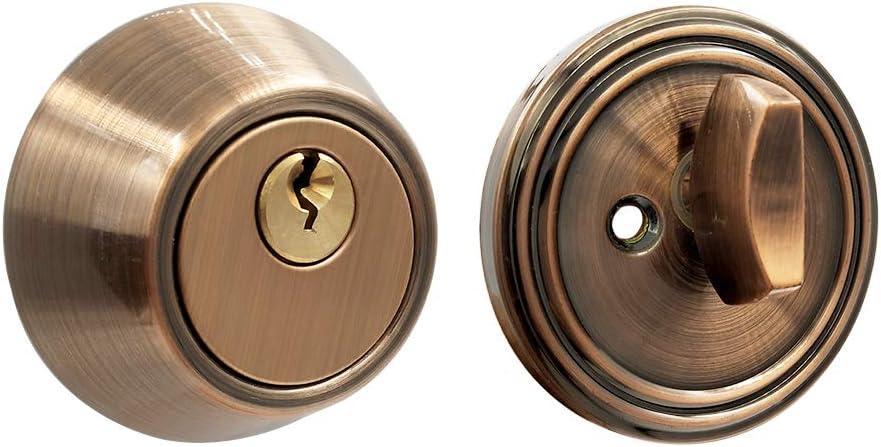 Cerradura cilíndrica de acero inoxidable para puerta con 3 llaves, estilo moderno, marrón