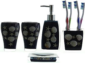 Amazon.com: ChabaLine 5-Piece Navy Blue Bathoom Accessories set ...