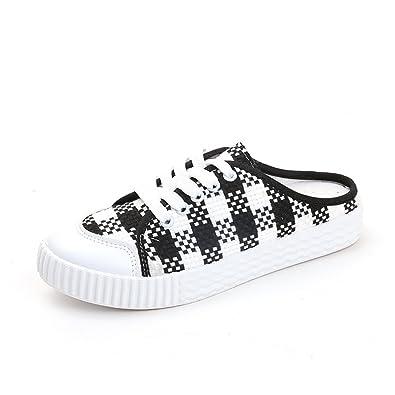 88a7c1628ed4 Women s Ace Canvas Slip on Sneakers Slide Sandal Flip Flops Open Toe Flat  Lace Up Tennis