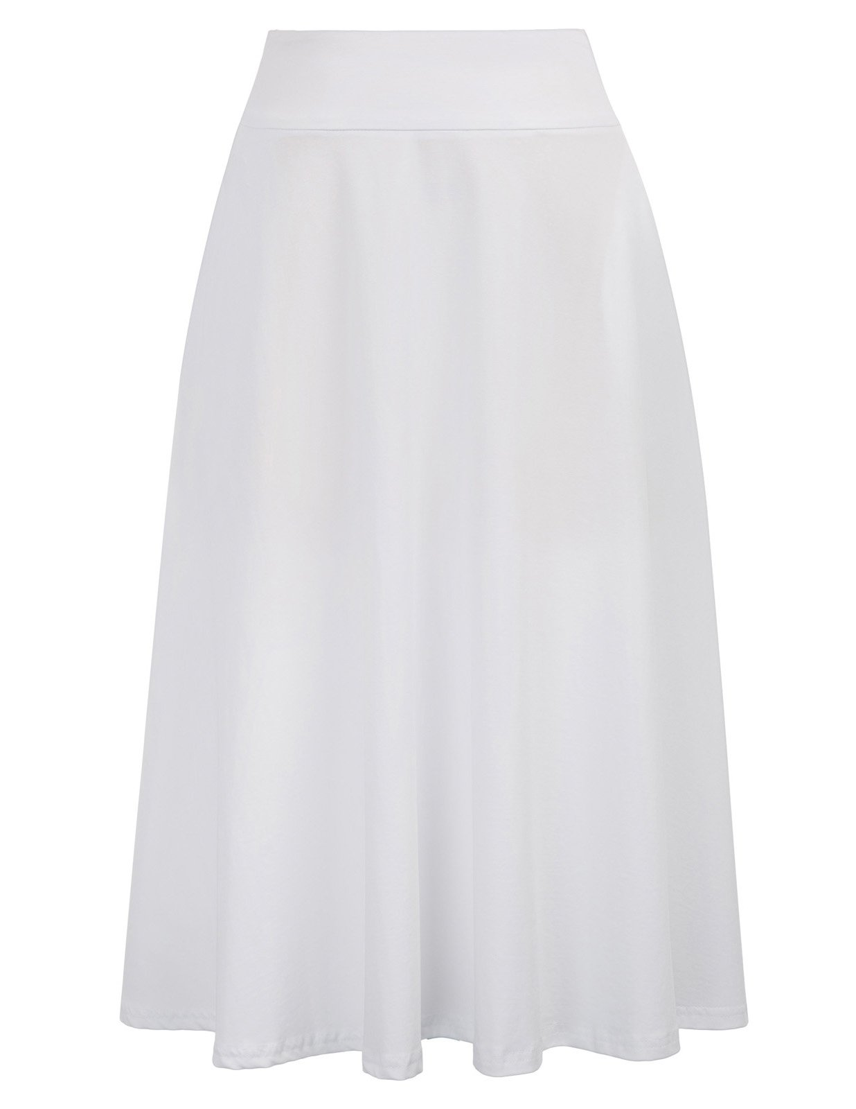Everyday High Waist A-Line Flared Skater Midi Skirt (M,White)