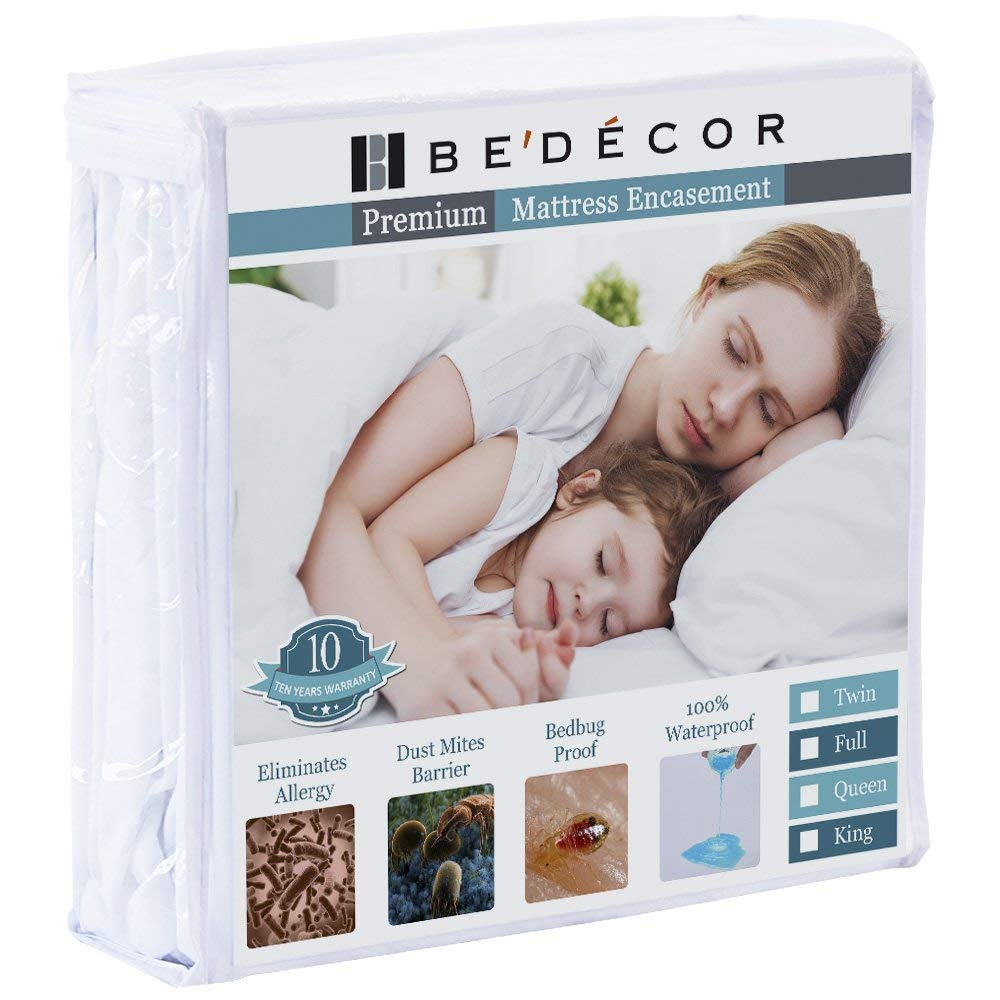 "Bedecor Zippered Encasement Six Sides Waterproof, Dust Mite Proof, Bed Bug Proof Breathable Mattress Protector - Queen(FITS UP to 15"")"
