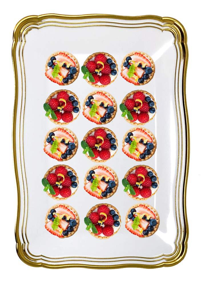 Collection Aristocrate Vaisselle de Luxe /à Usage Unique Decorline-2 Plateaux rectangulaire 35x23 cm Blanc//Argent/é Plastique Rigid-Party-Jetable